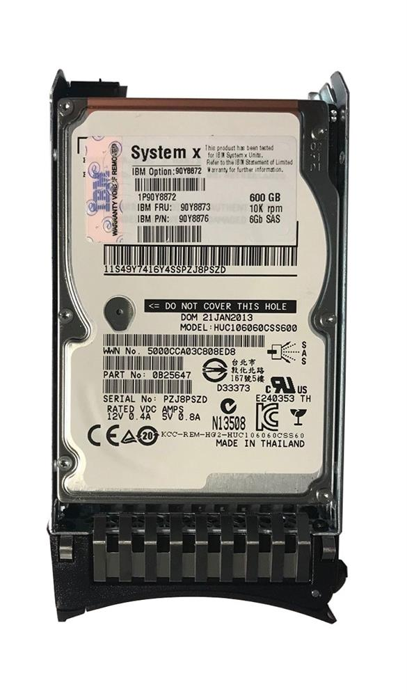 90Y8872 IBM 600GB 10000RPM SAS 6Gbps Hot Swap 64MB Cache 2.5-inch Internal Hard Drive with Tray