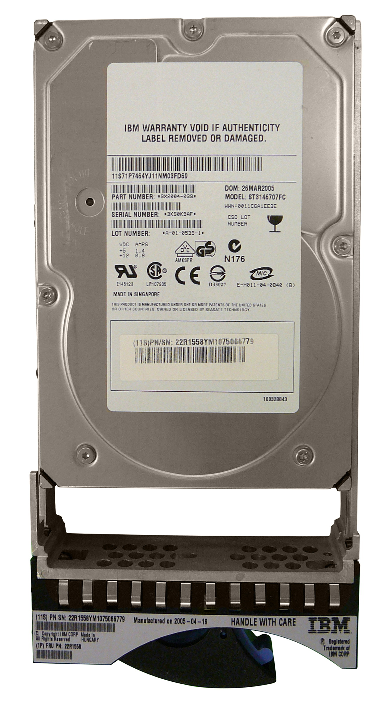 9X2004-039 Seagate Cheetah 10K.7 146GB 10000RPM Fibre Channel 2Gbps 8MB Cache 3.5-inch Internal Hard Drive