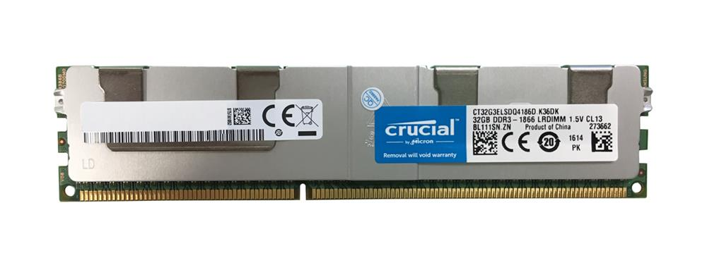 CT32G3ELSDQ4186D Crucial 32GB PC3-14900 DDR3-1866MHz ECC Registered CL13 240-Pin Load Reduced DIMM Quad Rank Memory Module