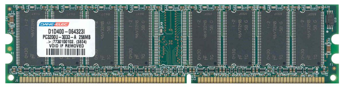 Dane-Elec 256MB PC3200 DDR-400MHz non-ECC Unbuffered CL3 184-Pin DIMM Memory Module Mfr P/N D1D400-064323I