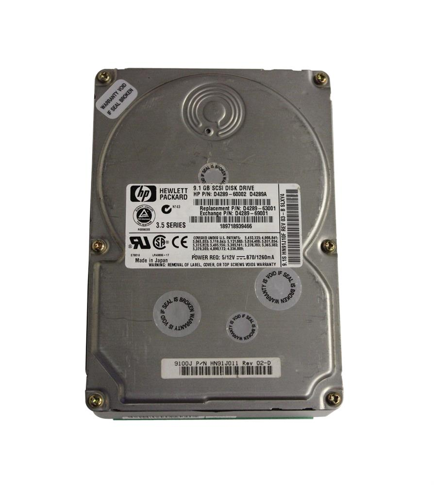 D4289A HP 9.1GB 7200RPM Ultra Wide SCSI 80-Pin LVD Hot Swap 3.5-inch Internal Hard Drive