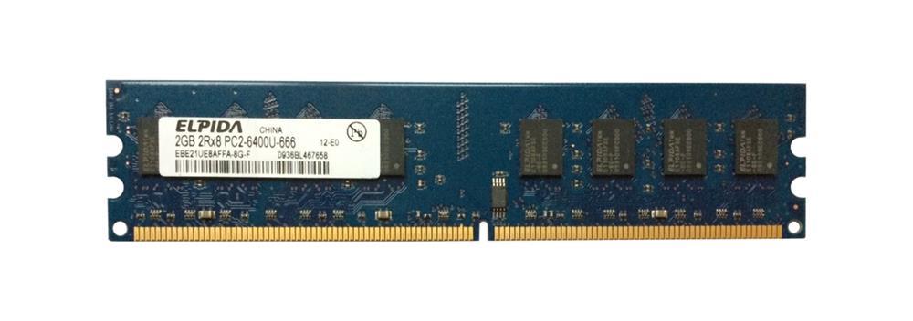 Elpida 2GB PC2-6400 DDR2-800MHz non-ECC Unbuffered CL6 240-Pin DIMM Dual Rank Memory Module Mfr P/N EBE21UE8AFFA-8G-F