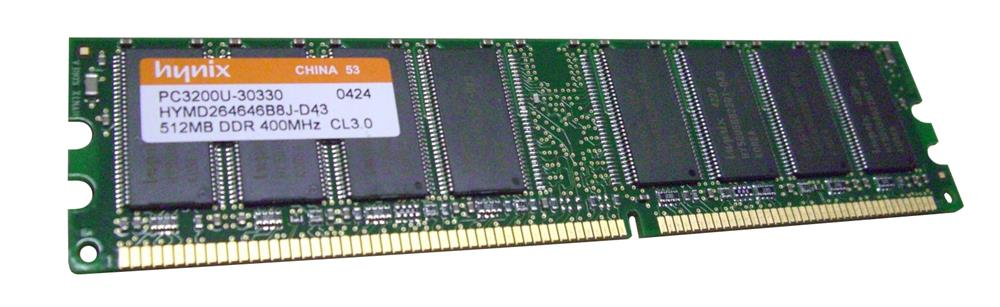 HYMD264646B8J-D43 Hynix 512MB PC3200 DDR-400MHz non-ECC Unbuffered CL2.5 184-Pin DIMM Memory Module