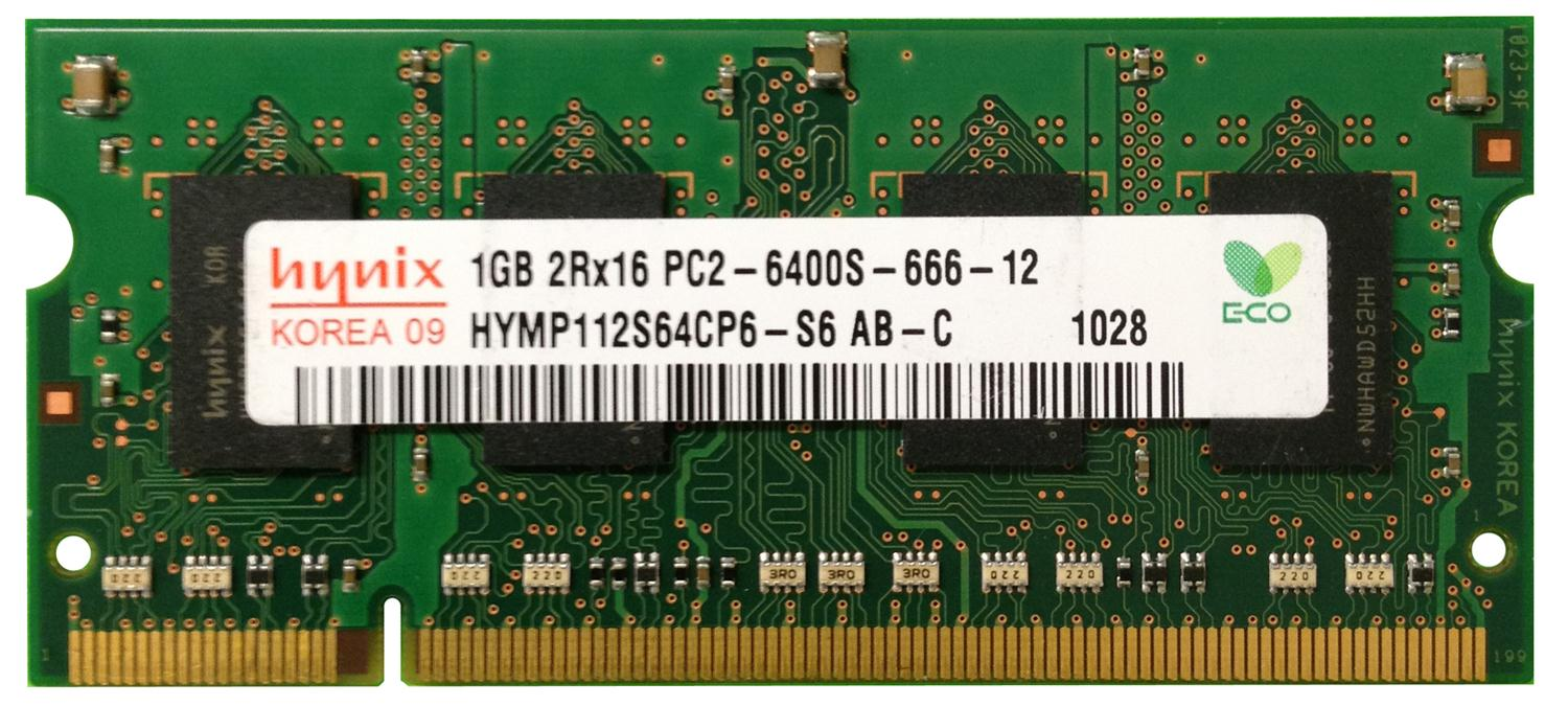 HYMP112S64CP6-S6-AB-C Hynix 1GB PC2-6400 DDR2-800MHz non-ECC Unbuffered 200-Pin SoDimm Dual Rank Memory MOdule