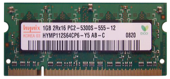 HYMP112S64CP6-Y5-AB-C Hynix 1GB PC2-5300 DDR2-667Mhz non-ECC Unbuffered CL5 200-Pin SoDimm Dual Rank Memory Module
