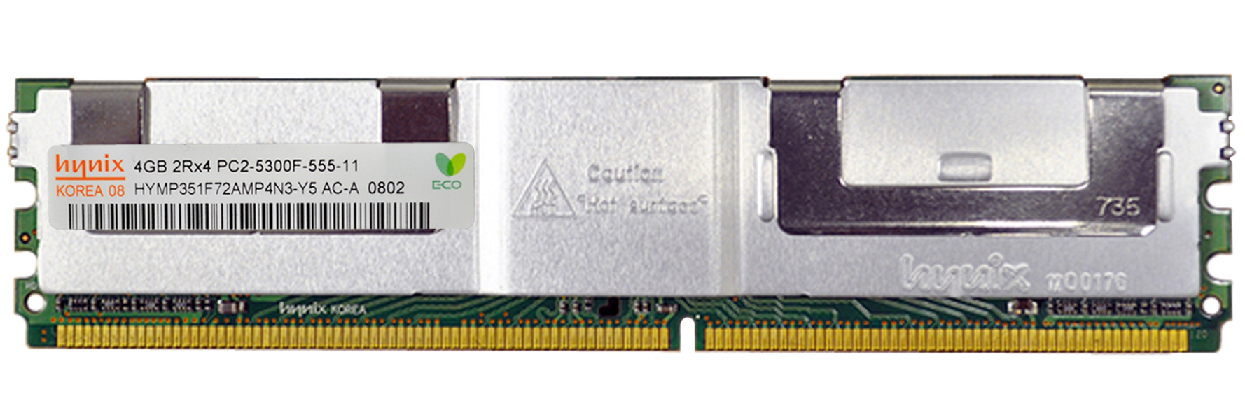HYMP351F72AMP4N3-Y5 Hynix 4GB PC2-5300 DDR2-667MHz ECC Fully Buffered CL5 240-Pin DIMM Dual Rank Memory Module
