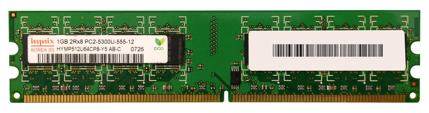 Hynix 1GB PC2-5300 DDR2-667MHz non-ECC Unbuffered CL5 240-Pin DIMM Dual Rank Memory Module Mfr P/N HYMP512U64CP8-Y5-AB-C