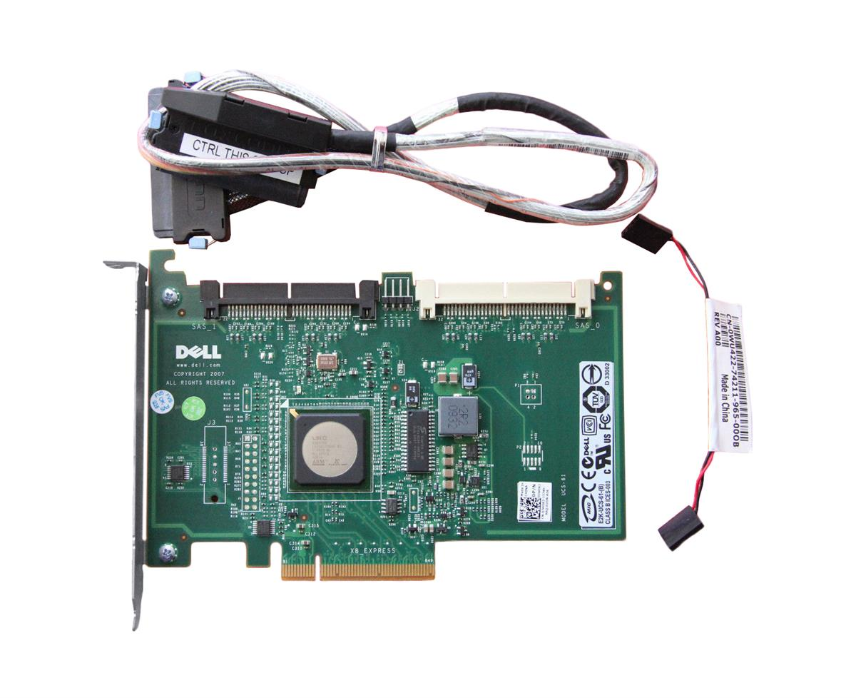 JW063 Dell SAS 6/iR SAS 3Gbps PCI Express 1.0 RAID Controller Card for PowerEdge R200, R300, T100, T105, T110, T300 Servers