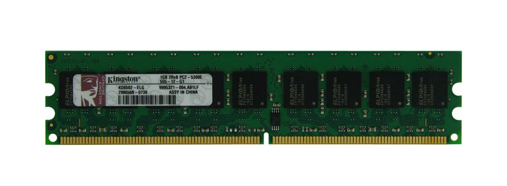 Kingston 1GB PC2-5300 DDR2-667MHz ECC Unbuffered CL5 240-Pin DIMM Dual Rank Memory Module Mfr P/N KD6502-ELG