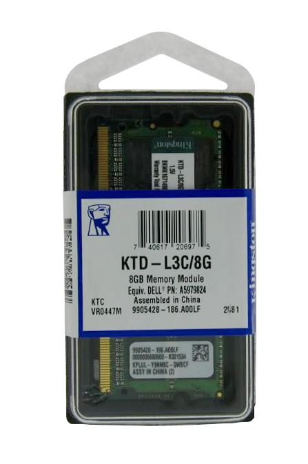 KTD-L3C/8G Kingston 8GB PC3-12800 DDR3-1600MHz non-ECC Unbuffered CL11 204-Pin SoDimm Dual Rank Memory Module