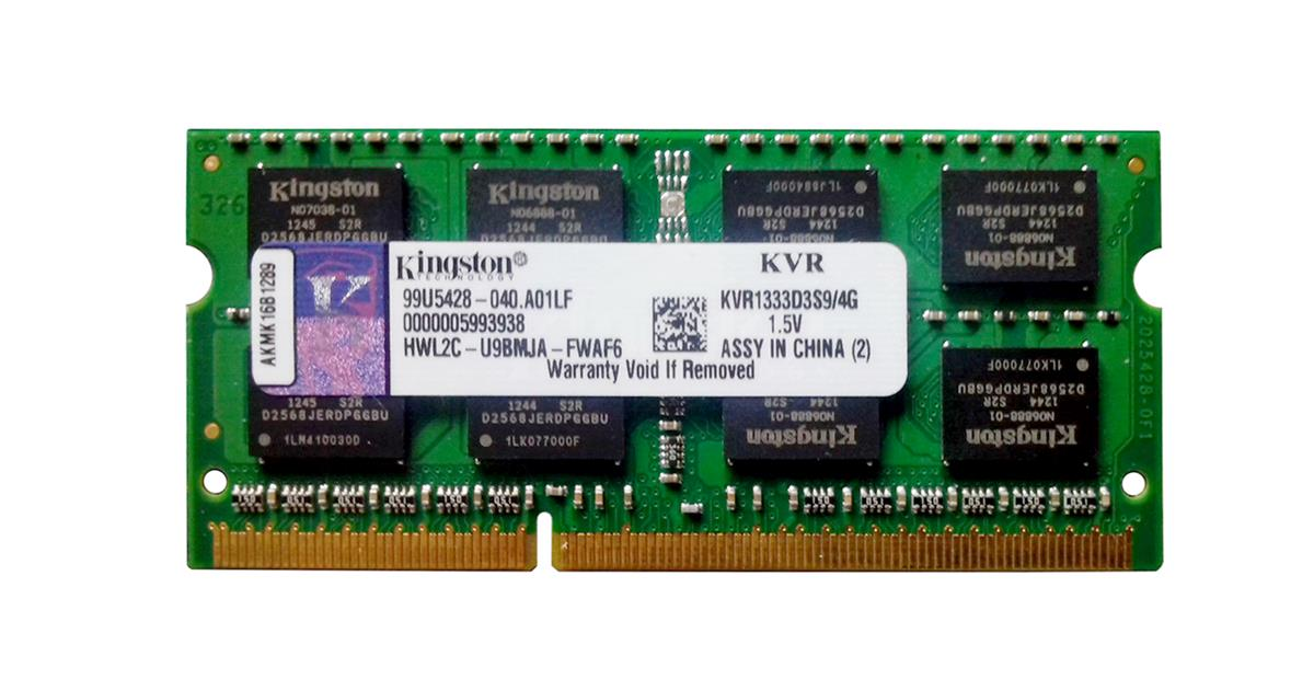 KVR1333D3S9/4G Kingston 4GB PC3-10600 DDR3-1333MHz non-ECC Unbuffered CL9 204-Pin SoDimm Dual Rank Memory Module