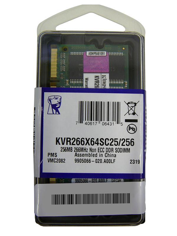 Kingston 256MB PC2100 DDR-266MHz non-ECC Unbuffered CL2.5 200-Pin SoDimm Memory Module Mfr P/N KVR266X64SC25/256