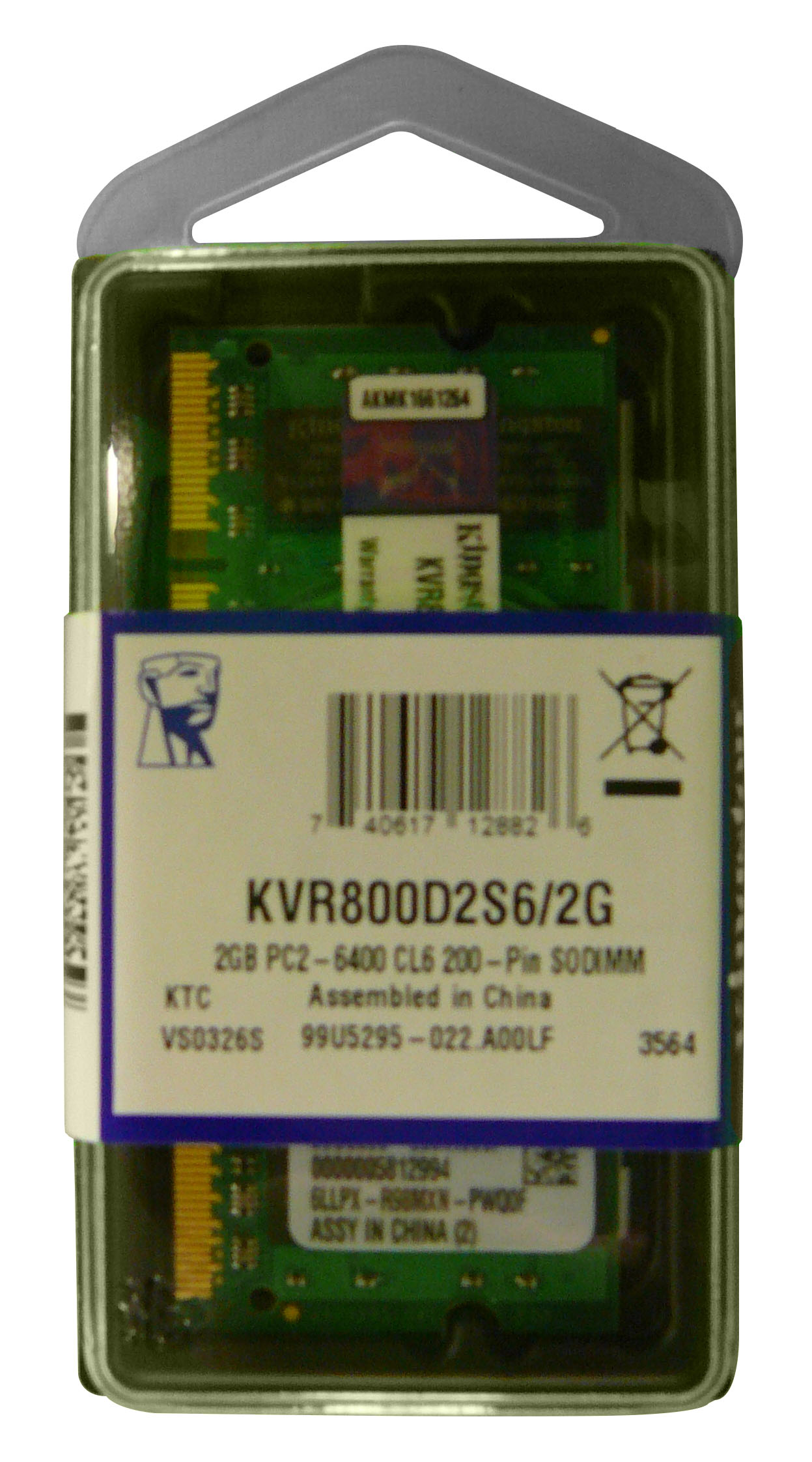 KVR800D2S6/2G Kingston 2GB PC2-6400 DDR2-800MHz non-ECC Unbuffered CL6 200-Pin SoDimm Dual Rank Memory Module