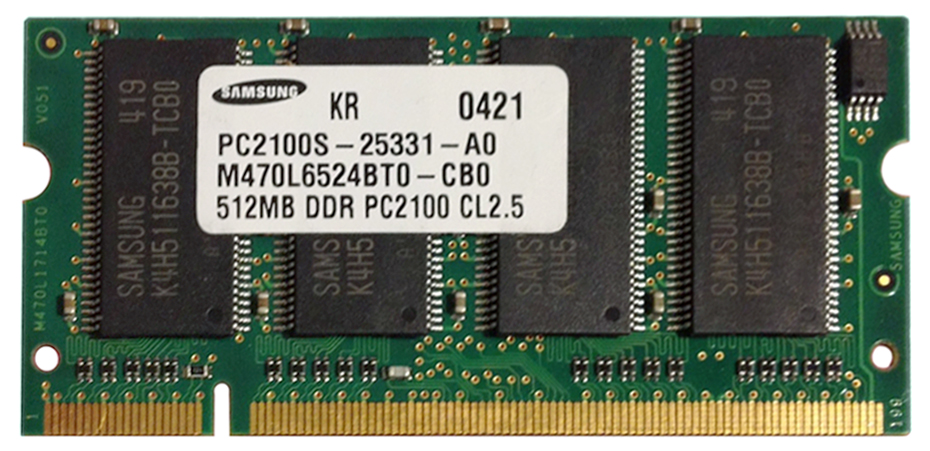 Samsung 512MB PC2100 DDR-266MHz non-ECC Unbuffered CL2.5 200-Pin SoDimm Memory Module Mfr P/N M470L6524BT0-CB0
