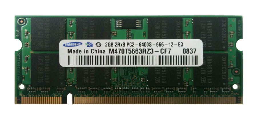 M470T5663RZ3-CF7 Samsung 2GB PC2-6400 DDR2-800MHz non-ECC Unbuffered CL6 200-Pin SoDimm Dual Rank Memory Module