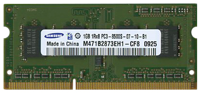M471B2873EH1-CF8 Samsung 1GB PC3-8500 DDR3-1066MHz non-ECC Unbuffered CL7 204-Pin SoDimm Single Rank Memory Module