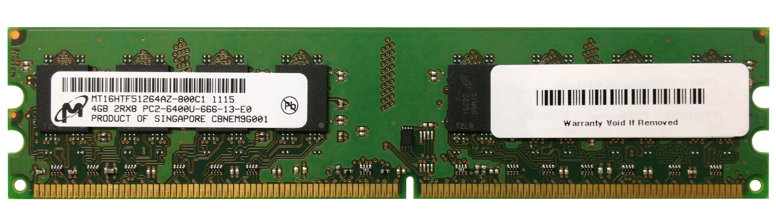 M4L Certified 4GB 800MHz DDR2 PC2-6400 Non-ECC CL6 240-Pin Dual Rank x8 DIMM Mfr P/N M4L-PC2800D2N6-4G