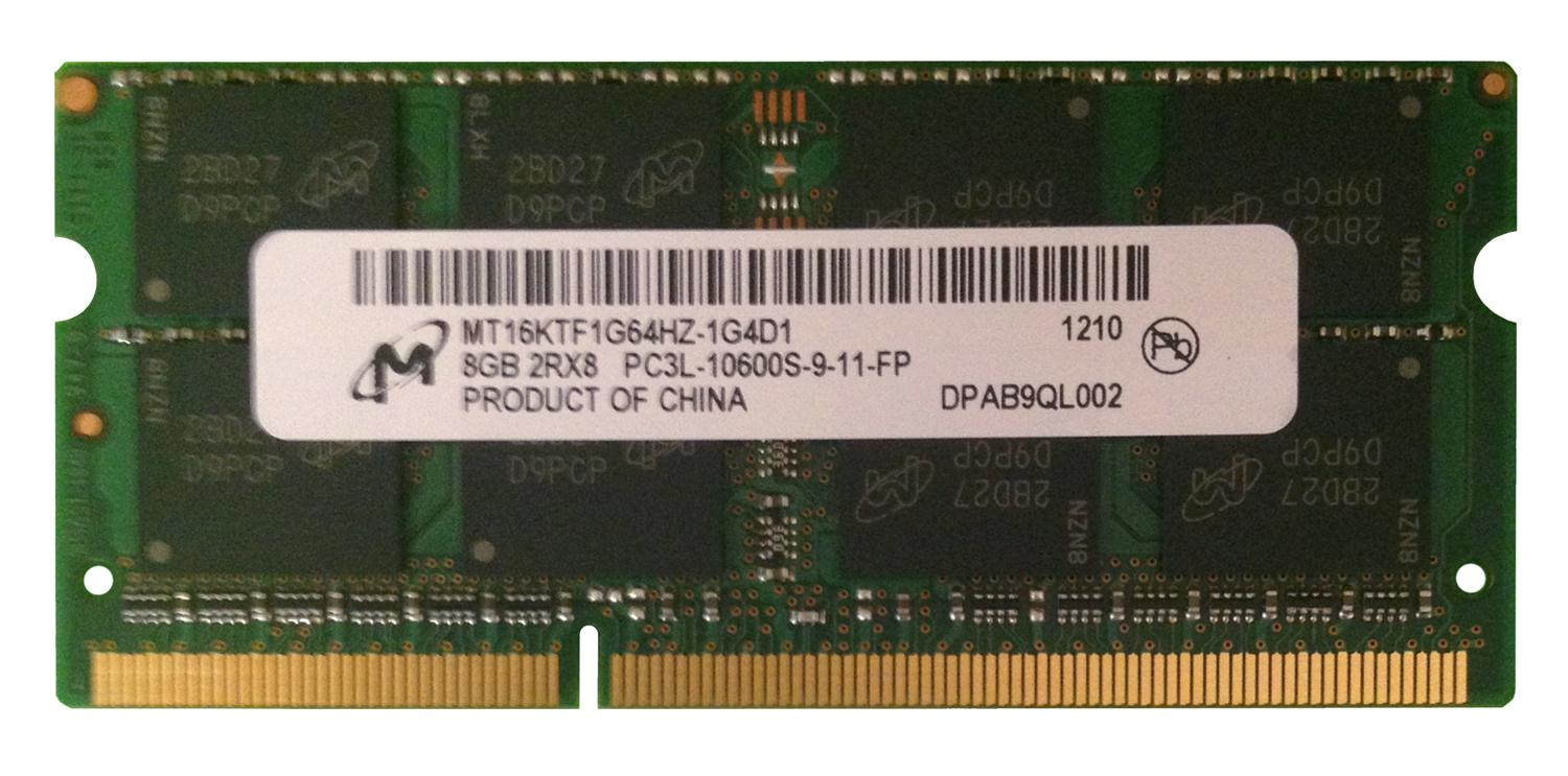 MT16KTF1G64HZ-1G4D1 Micron 8GB PC3-10600 DDR3-1333MHz non-ECC Unbuffered CL9 204-Pin SoDimm 1.35V Low Voltage Dual Rank Memory Module