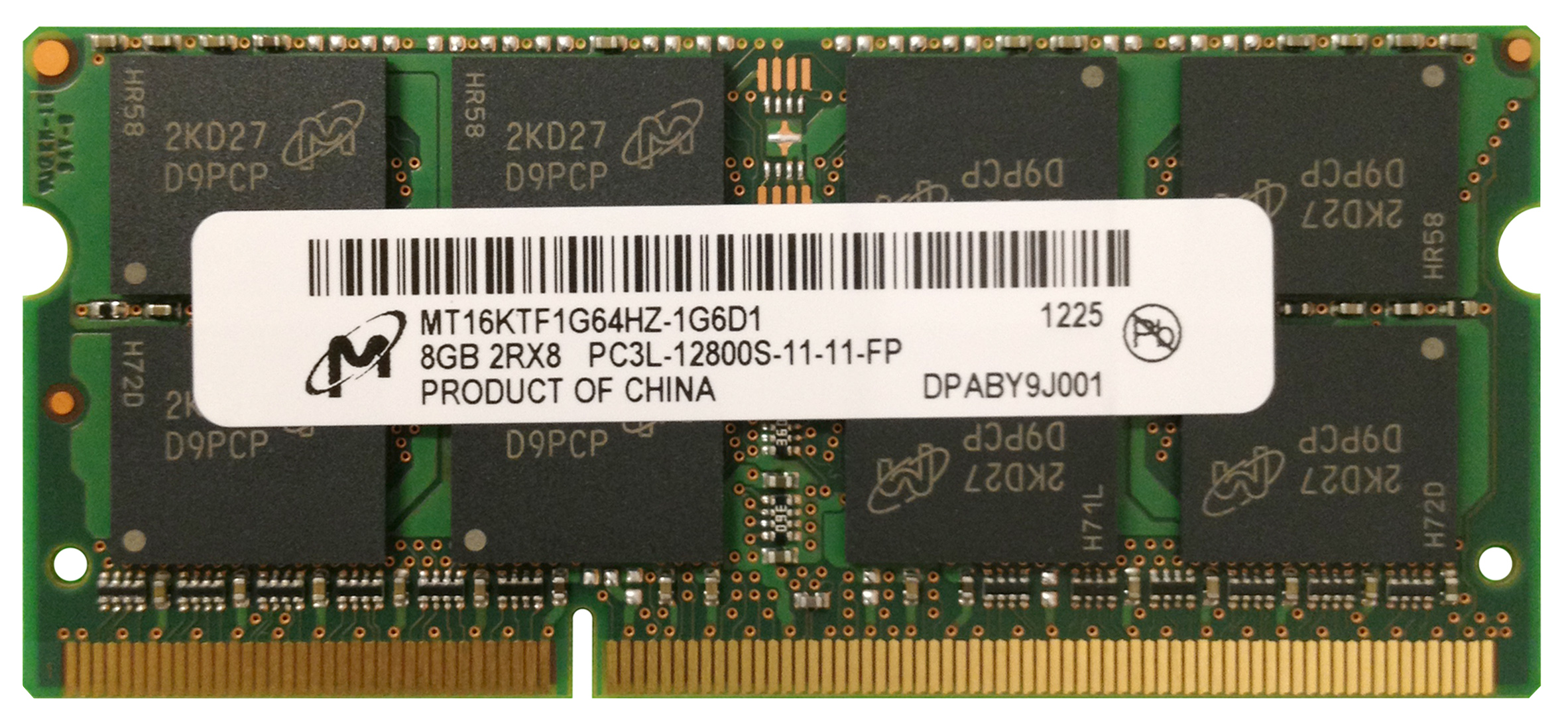 MT16KTF1G64HZ-1G6D1 Micron 8GB PC3-12800 DDR3-1600MHz non-ECC Unbuffered CL11 204-Pin SoDimm 1.35V Low Voltage Dual Rank Memory Module