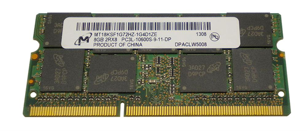 MT18KSF1G72HZ-1G4D1ZE Micron 8GB PC3-10600 DDR3-1333MHz ECC Unbuffered CL9 204-Pin SoDimm 1.35V Low Voltage Dual Rank Memory Module