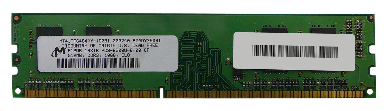 M4L Certified 512MB 1066MHz DDR3 PC3-8500 Non-ECC CL7 240-Pin Single Rank x16 DIMM Mfr P/N M4L-PC31066ND3S167D-512M