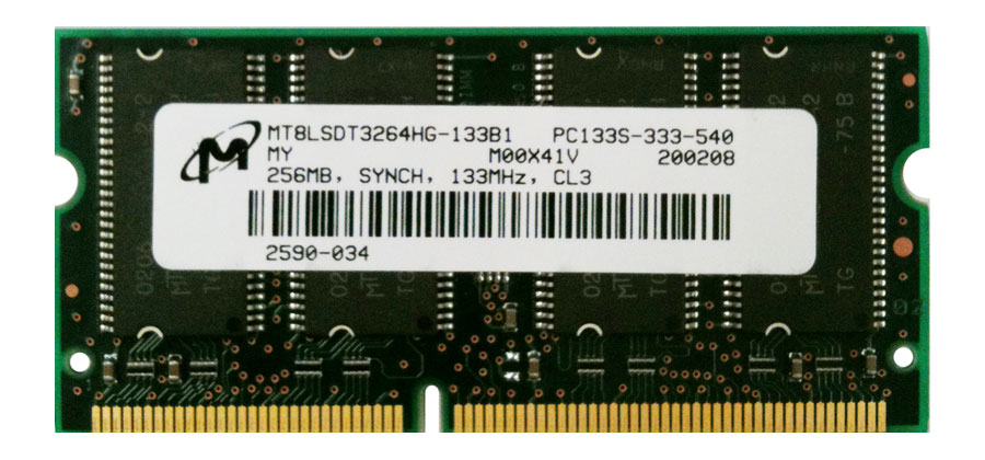 MT8LSDT3264HG-133B1 Micron 256MB PC133 133MHz non-ECC Unbuffered CL3 144-Pin SoDimm Dual Rank Memory Module