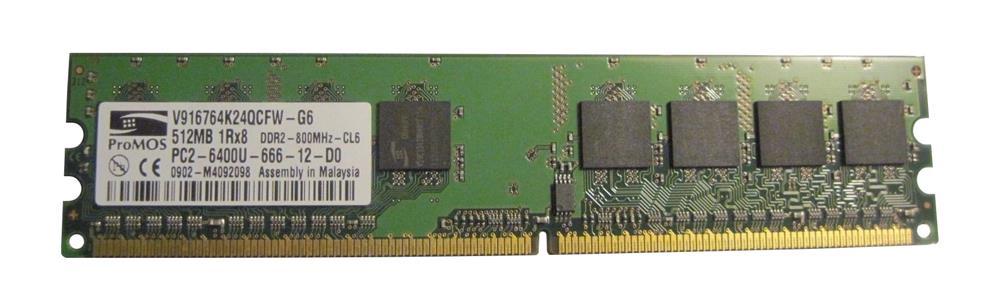 ProMOS 512MB PC2-6400 DDR2-800MHz non-ECC Unbuffered 240-Pin DIMM Memory Module Mfr P/N V916764K24QCFW-G6