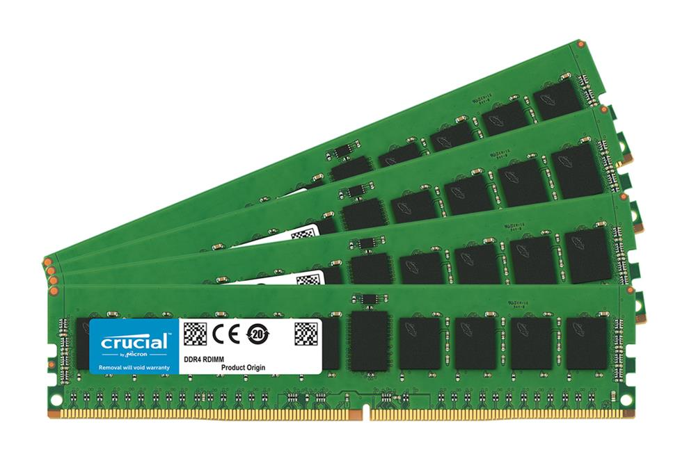 CT7606242 Crucial 64GB Kit (4 X 16GB) PC4-19200 DDR4-2400MHz ECC Registered CL17 288-Pin DIMM 1.2V Dual Rank Memory for Supermicro SuperServer 6028R-TDWNR