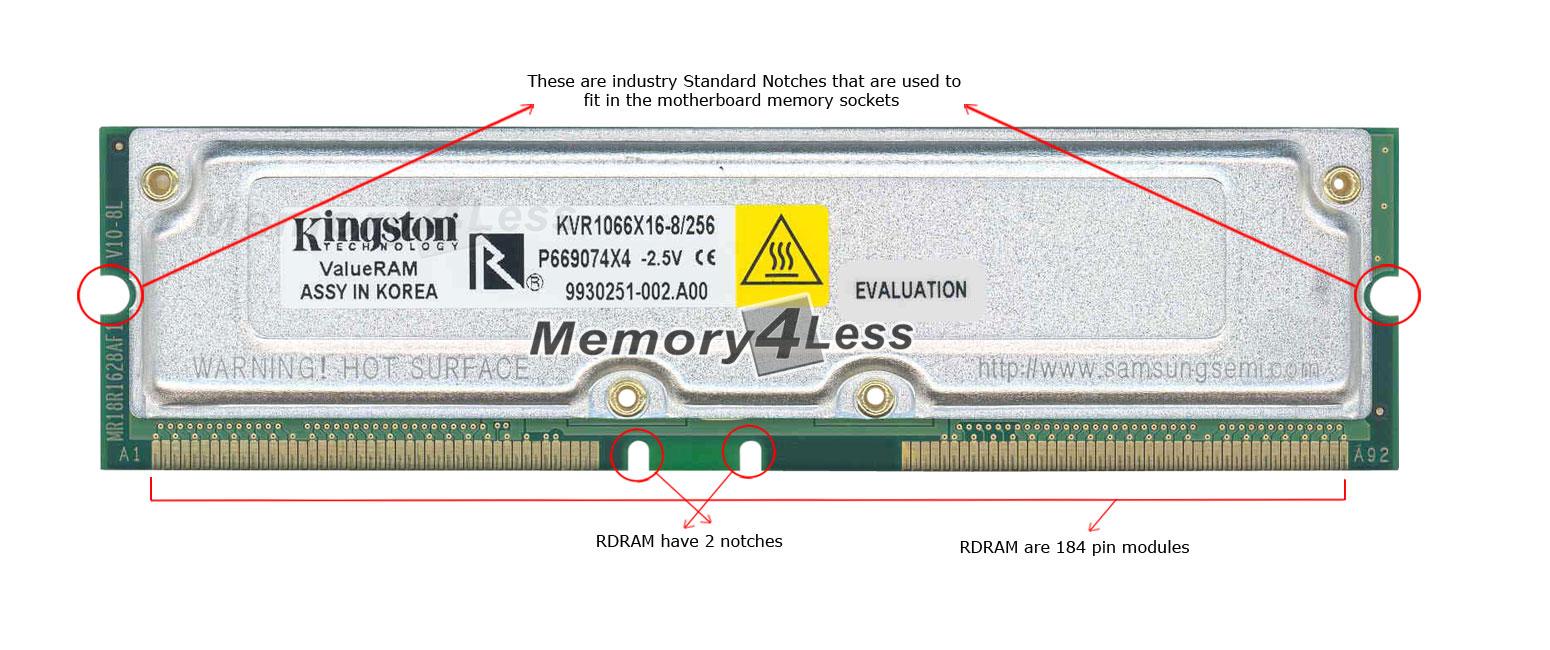 Kingston 256MB PC1066 1066MHz non-ECC 32ns 184-Pin RDRAM RIMM Memory Module Mfr P/N KVR1066X168256