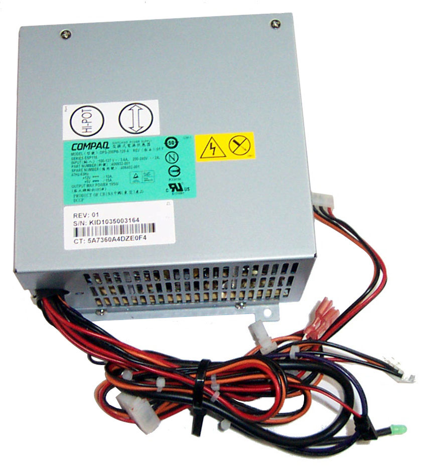 HP 200-Watts AC ATX Power Supply with Active PFC for StorageWorks 3U Rackmount Storage Enclosure Mfr P/N 234075-001