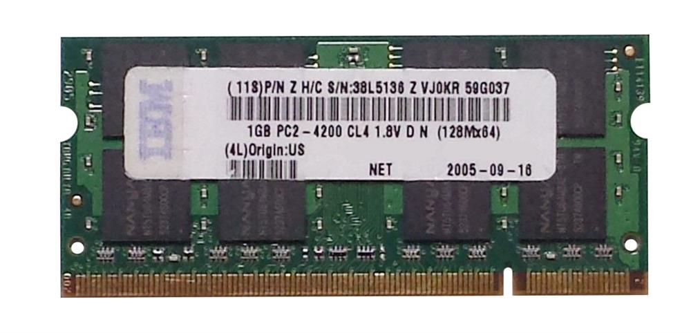 38L5136 IBM 1GB PC2-4200 DDR2-533MHz non-ECC Unbuffered CL4 200-Pin SoDimm Memory Module