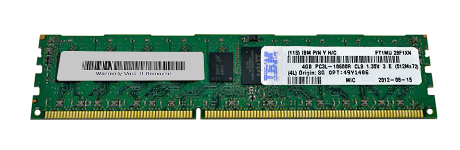 49Y1406 IBM 4GB PC3-10600 DDR3-1333MHz ECC Registered CL9 240-Pin DIMM 1.35V Low Voltage Single Rank Memory Module