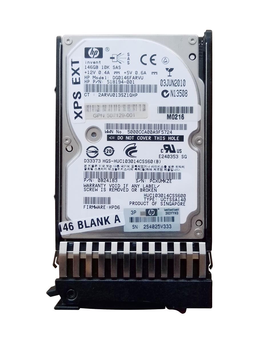 HP 146GB 10000RPM SAS 6Gbps Hot Swap Dual Port 2.5-inch Internal Hard Drive Mfr P/N 518194-001