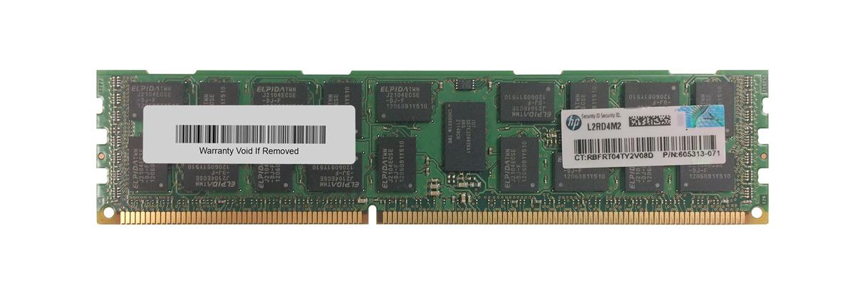 605313-071 HP 8GB PC3-10600 DDR3-1333MHz ECC Registered CL9 240-Pin DIMM 1.35V Low Voltage Dual Rank Memory Module