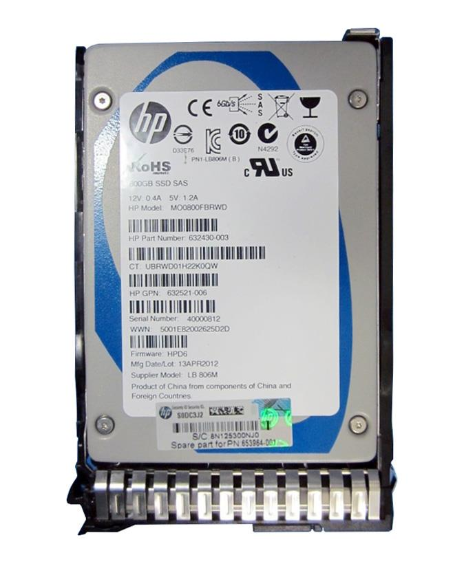 653964-001 HP 800GB MLC SAS 6Gbps Hot Swap Enterprise Mainstream 2.5-inch Internal Solid State Drive (SSD) with Smart Carrier
