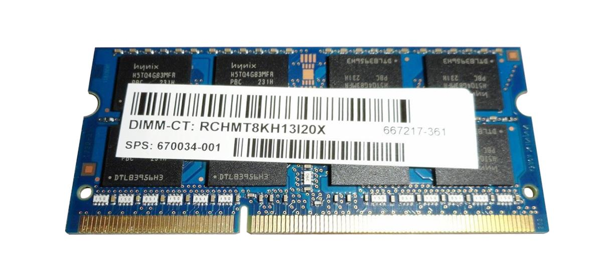 670034-001 HP 8GB PC3-12800 DDR3-1600MHz non-ECC Unbuffered CL11 204-Pin SoDimm Dual Rank Memory Module