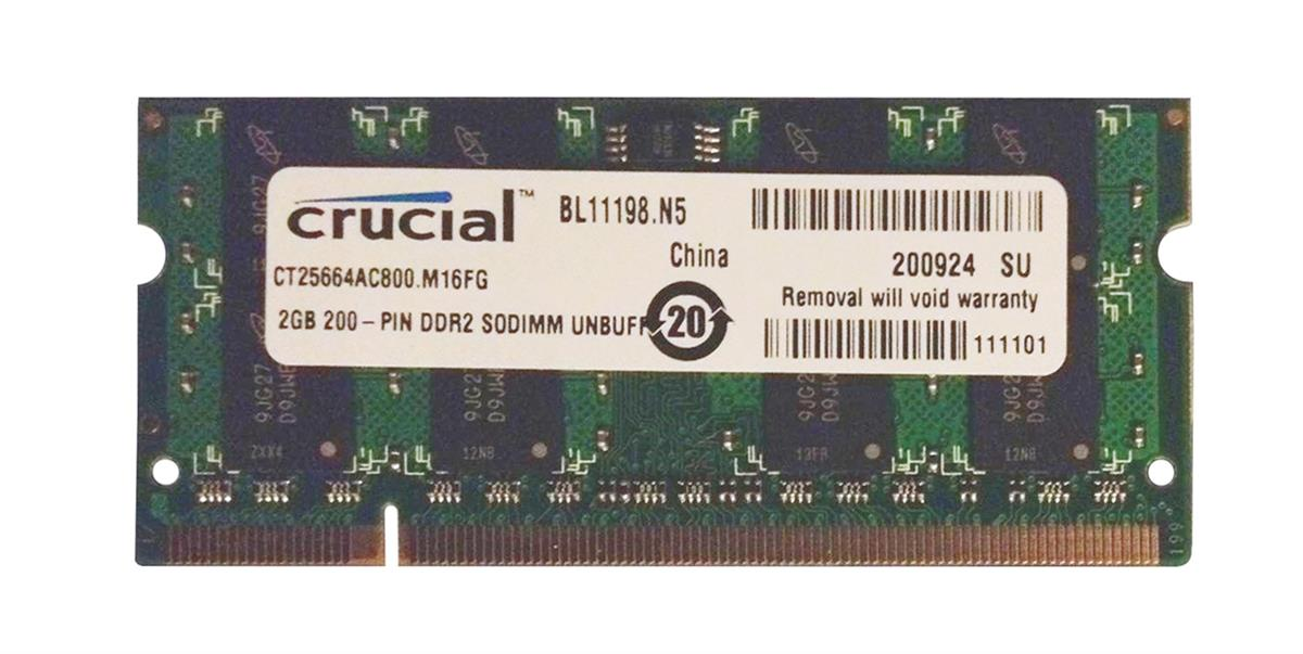CT25664AC800 Crucial 2GB PC2-6400 DDR2-800MHz non-ECC Unbuffered CL6 200-Pin SoDimm Memory Module