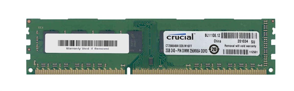 CT25664BA1339 Crucial 2GB PC3-10600 DDR3-1333MHz non-ECC Unbuffered CL9 240-Pin DIMM Dual Rank Memory Module