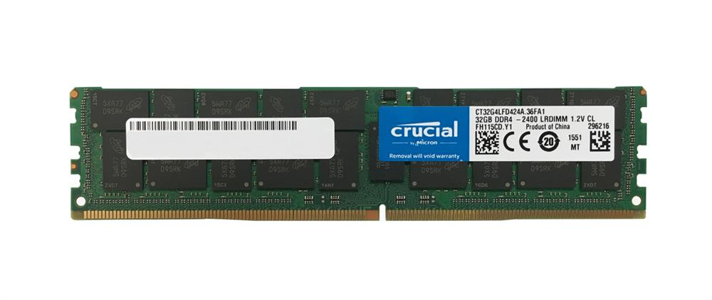CT32G4LFD424A Crucial 32GB PC4-19200 DDR4-2400MHz ECC Registered CL17 288-Pin Load Reduced DIMM 1.2V Dual Rank Memory Module