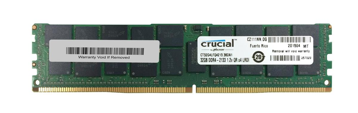 CT32G4LFQ4213 Crucial 32GB PC4-17000 DDR4-2133MHz ECC Registered CL15 288-Pin Load Reduced DIMM 1.2V Quad Rank Memory Module