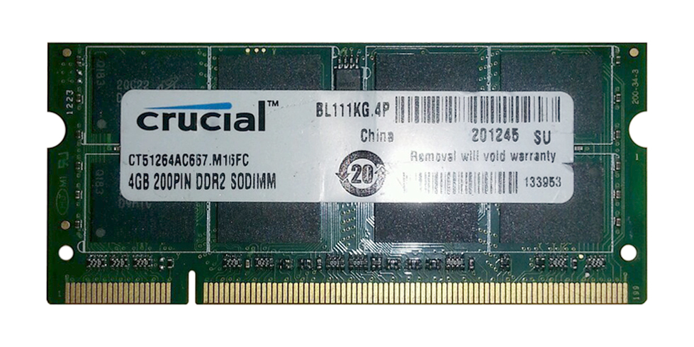 CT51264AC667 Crucial 4GB PC2-5300 DDR2-667MHz non-ECC Unbuffered CL5 200-Pin SoDimm Memory Module