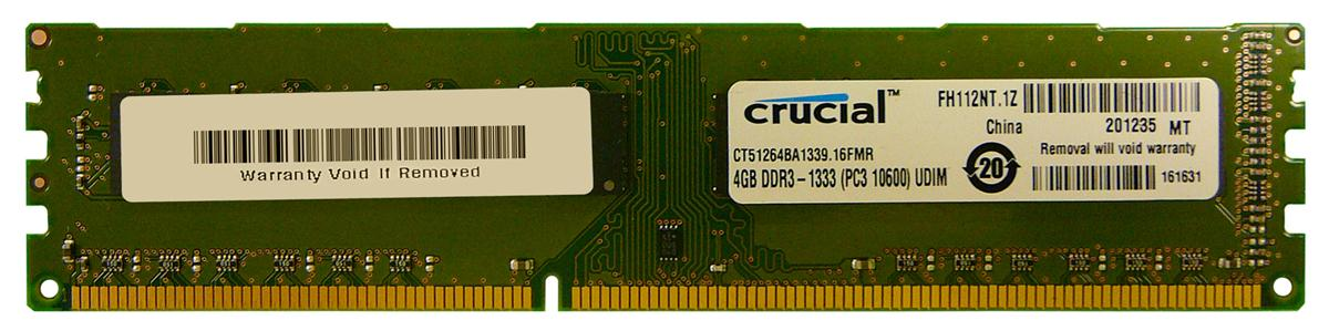 Crucial 4GB PC3-10600 DDR3-1333MHz non-ECC Unbuffered CL9 240-Pin DIMM Memory Module Mfr P/N CT51264BA1339