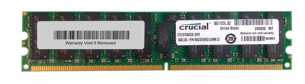 Crucial 4GB PC2-4200 DDR2-533MHz ECC Registered CL4 240-Pin DIMM Dual Rank Memory Module Mfr P/N CT51272AB53E
