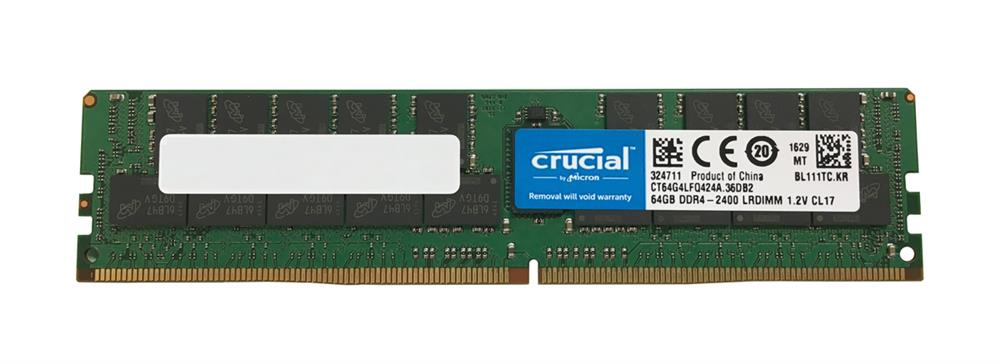 CT64G4LFQ424A Crucial 64GB PC4-19200 DDR4-2400MHz ECC Registered CL17 288-Pin Load Reduced DIMM 1.2V Quad Rank Memory Module