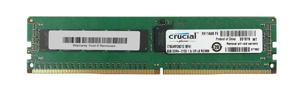 CT8G4RFD8213.18FA1 Crucial 8GB PC4-17000 DDR4-2133MHz Registered ECC CL15 288-Pin DIMM 1.2V Dual Rank Memory Module