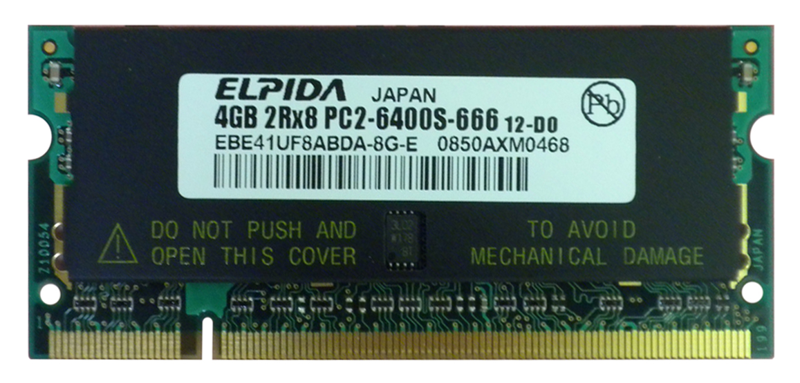 EBE41UF8ABDA-8G-E Elpida 4GB PC2-6400 DDR2-800MHz non-ECC Unbuffered CL6 200-Pin SoDimm Dual Rank Memory Module