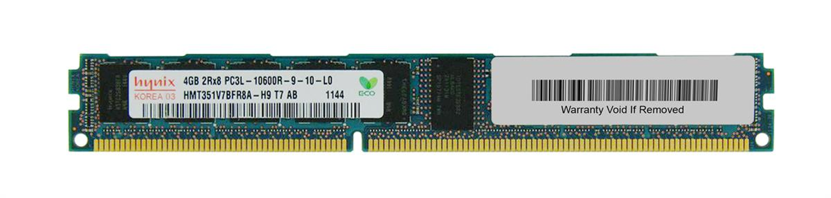 Hynix 4GB PC3-10600 DDR3-1333MHz ECC Registered CL9 240-Pin DIMM 1.35V Low Voltage Very Low Profile (VLP) Dual Rank Memory Module Mfr P/N HMT351V7BFR8A-H9
