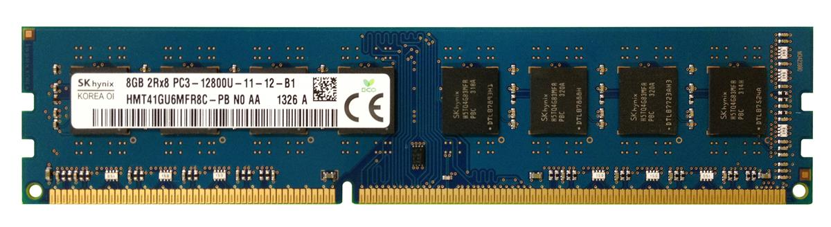 HMT41GU6MFR8C-PB Hynix 8GB PC3-12800 DDR3-1600MHz non-ECC Unbuffered CL11 240-Pin DIMM Dual Rank Memory Module
