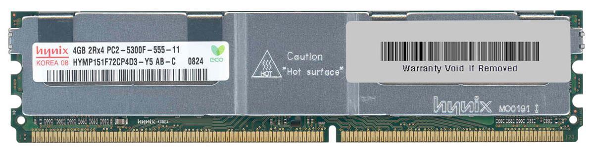 Hynix 4GB PC2-5300 DDR2-667MHz ECC Fully Buffered CL5 240-Pin DIMM Dual Rank Memory Module Mfr P/N HYMP151F72CP4D3-Y5