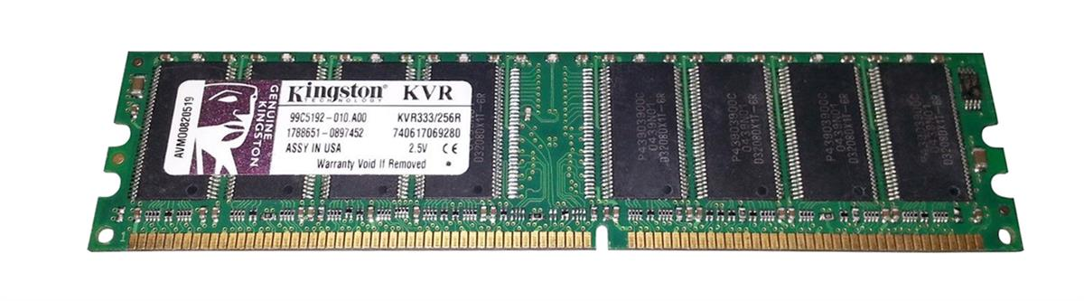 Kingston 512MB PC2700 DDR-333MHz non-ECC Unbuffered CL2.5 184-Pin DIMM Memory Module Mfr P/N KVR333/512R